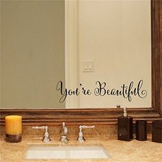 YINGKAI You're Beautiful Quote Mirror Decal Vinyl Decal Living Room Vinyl Carving Wall Decal Sticker for Home Window Decoration affiliate links
