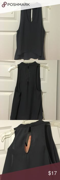 High low chocker top Sheer, delicate, and chic. Only worn once. Rich dark charcoal gray color. Junior large, will fit as an adult small. Tops Blouses