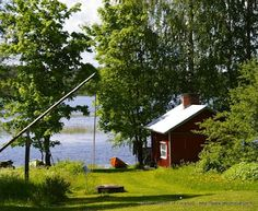 At Saimaa in Finland. Swedish Cottage, Red Cottage, Swedish House, Summer Cabins, Finland Travel, Paradise On Earth, Amazing Spaces, Farm Life, Green Nature