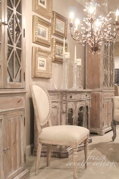 FRENCH COUNTRY COTTAGE: Accentrics Home ~ Details. Bleached wood cabinets and chair linen upholstery.