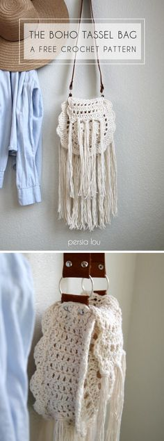 Boho Tassel Bag - free crochet pattern! So cute with the tassels and leather strap!