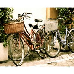 Italian Bicycle Photo - Rome Italy - Vintage Style Photograph - Bike -... ($30) ❤ liked on Polyvore