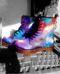 Hot Galaxy Lace Up Leather Biker Boots #galaxy #boots www.loveitsomuch.com