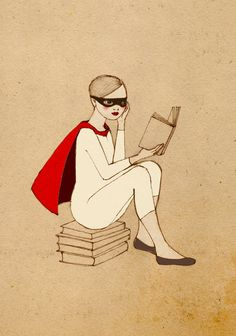 Superhero Reader Girl print of original drawing by Irena Sophia.  Proof that reading makes you cooler, because we all secretly want to be superheros and wear capes all of the time
