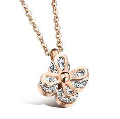 Titanium steel plating rose gold diamond pendant Lady necklace GX1112