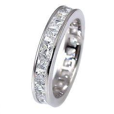 Princess Delia: 3.85ct Russian Ice CZ Princess Cut Eternity Band Ring