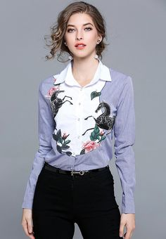 New In  Flying Horse and ...    Check it out here! http://nbrandfashion.com/products/flying-horse-and-flowers-embroidered-patch-contrast-colour-shirt-nr1206-blu?utm_campaign=social_autopilot&utm_source=pin&utm_medium=pin
