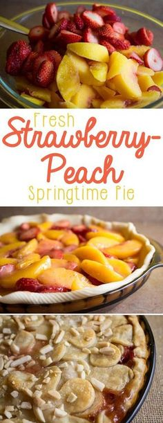 This strawberry peach pie is so heavenly. its perfect for springtime! If you need a potluck dessert or the perfect spring pie, youll love this-- fresh strawberries marry beautiful juicy peaches inside of a flaky crust, with just the right hint of sugar. Potluck Desserts, Just Desserts, Delicious Desserts, Dessert Recipes, Yummy Food, Spring Desserts, Recipes Dinner, Dinner Ideas, Spring Meals