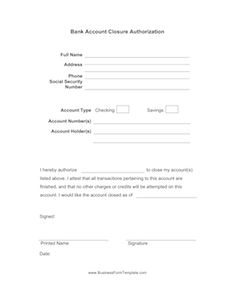 Bank Account Closing Letter Template  HttpResumesdesignCom