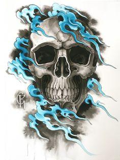 Japan Tattoo Design, Sketch Tattoo Design, Skull Tattoo Design, Skull Tattoos, Easy Skull Drawings, Cool Tattoo Drawings, Airbrush Designs, Airbrush Art, Skull Sketch