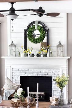 While hers is a faux fireplace, I like the wood planking and white brick. LOVE... More