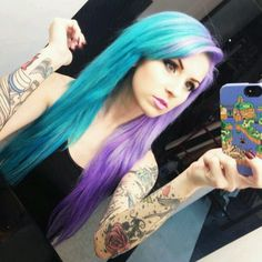 Blue and purple/lilac hair.