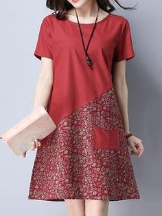 Floral Patchwork Pocket Short Sleeve O Neck Women Dresses - 옷 . - Floral Patchwork Pocket Short Sleeve O Neck Women Dresses – 옷 - Simple Dresses, Casual Dresses, Short Dresses, Dresses Dresses, Cheap Dresses, Loose Dresses, Dresses With Sleeves, 1950s Dresses, Casual Clothes