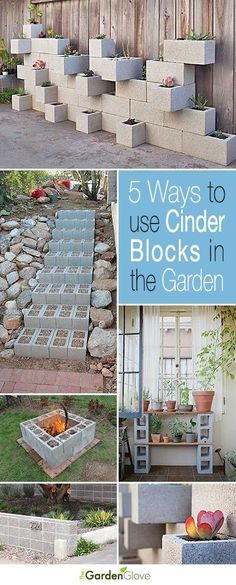 Garden Landscaping Ideas 5 Ways to Use Cinder Blocks in the Garden Lots of creative projects ideas and tutorials!Garden Landscaping Ideas 5 Ways to Use Cinder Blocks in the Garden Lots of creative projects ideas and tutorials! Backyard Projects, Outdoor Projects, Garden Projects, Diy Projects, Backyard Ideas, Mosaic Projects, Cinder Block Garden, Cinder Blocks, Garden Blocks