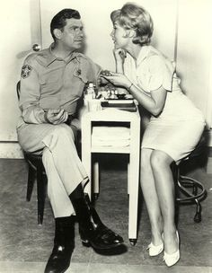 Andy Griffith & Barbara Eden / The episode when Barbara moves to town and does manicures in Floyd's barber shop.