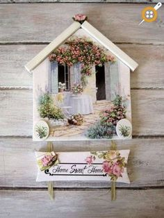 It's possible to discover floral wreaths made with various blooms and colours. Decorative wreaths are a simple means to bring a welcoming accent to yo. Popsicle Stick Crafts, Craft Stick Crafts, Home Crafts, Diy And Crafts, Shabby Chic Crafts, Decoupage Art, Ideias Diy, How To Make Wreaths, Painting On Wood