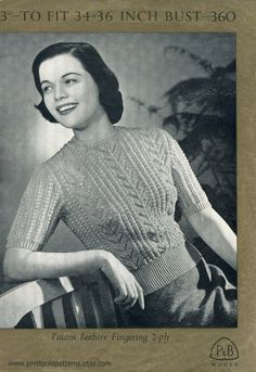 "Bobble and Lace Short Sleeve Jumper 34 to 36"" Bust Patons 360 Vintage 1940s Knitting Pattern Download"