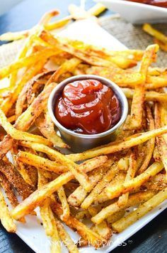 Crispy edges, soft centers; extra-crispy French fries baked not fried – so you can feel good about eating them!