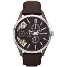 Shop for Fossil Women's 'Mechanical Twist' Dual Time Multi-Function Brown Leather Watch. Get free delivery On EVERYTHING* Overstock - Your Online Watches Store! Seamaster Watch, Omega Seamaster, Brown Leather Strap Watch, Leather Watch Bands, Pink Leather, Best Watches For Men, Cool Watches, Wrist Watches, Skeleton Watches