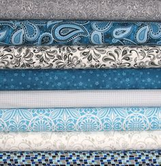 Weekly Special and Free Shipping! Teal and Gray Fat Quarter Bundle, Cotton Quilt Fabric, Aqua, Turquoise