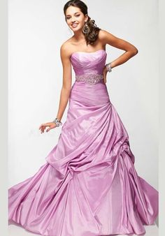 Asymmetric Waist A line Scoop Taffeta With Pick ups Sleeveless Prom Dress