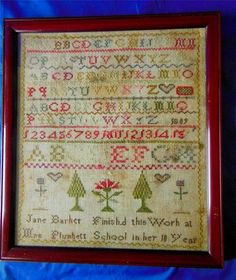 Beautiful Antique Georgian Sampler 1809 Jane Barker Aged 10 Mrs Plunketts School