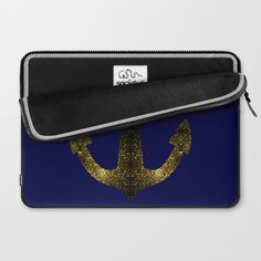 Yellow Gold sparkles Anchor on Dark navy blue Laptop Sleeve by #PLdesign #SparklesAnchor #GoldSparkles #SparklesGift