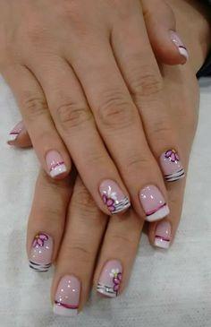 :) Pedicure Nail Designs, Fingernail Designs, Pink Nail Designs, Manicure And Pedicure, Hair And Nails, My Nails, Square Nail Designs, Finger Nail Art, Floral Nail Art