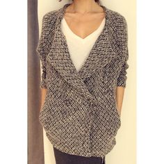 $32.84 Fashionable Turn-Down Collar Color Stitching Long Sleeve Women's Cardigan