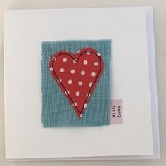 Pretty free motion embroidery Greetings Card Heart