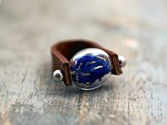 Genuine leather ring with real cornflowers
