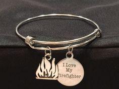 I Love my Firefighter Adjustable Bangle Bracelet