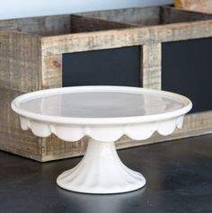 Scalloped Edge Creamware Cake Stand