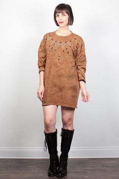 Vintage 80s Brown Tie Dye Tshirt Gold Studded Gem Beaded Mini Dress Oversized T Shirt 1980s New Wave Tunic Top Hippie L XL Extra Large XXL by ShopTwitchVintage #vintage #etsy #80s #1980s #tiedie #dress #minidress #shirt #tunic #studded #southwestern