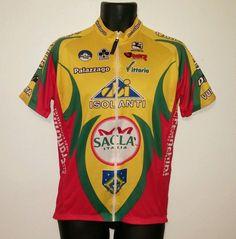 GIORDANA COLNAGO Sacla Italia Cycling Bike Zip Up Jersey Mens Size Medium WORN #Giordana