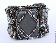 """Комплект """"Galaxy"""" - серебряный,черный браслет,крупные серьги,черные серьги"""