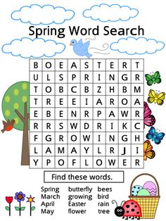 57 Trendy spring games for kids teaching English Lessons For Kids, English Worksheets For Kids, English Activities, Spring Word Search, Easy Word Search, Word Search Games, Spring Poem, Spring Words, Preschool Movement Activities