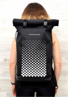 Black reflective roll top backpack