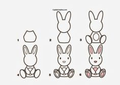 kerajinan anak TK/SD, langkah/cara menggambar kelinci & mewarnai