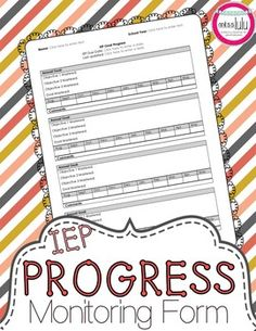 Simplify progress monitoring and use your time more effectively with this IEP Progress Monitoring Form for special education.  This form is easy for paraprofessionals or peer tutors to fill out while taking data, making progress monitoring much easier for you!
