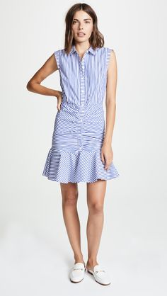 7f364500b263 Veronica Beard Ruched Dress | SHOPBOP Veronica Beard, Point Collar, Ruched  Dress, Stripe