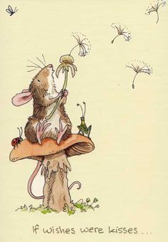 Anita Jeram ✿ 'If wishes were kisses...' ✿ Mouse ✿ Dandelion ✿ Mushroom ✿ Ladybug ✿ #Illustration