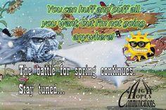 The battle for spring continues www.highhopescommunications.ca Battle, Comic Books, Comics, Spring, Comic Book, Comic, Comic Strips, Graphic Novels, Graphic Novels