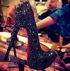 Black Diamond Sparkling Heels <3 the eldest princess would love to dance these into peices