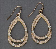 Simply Whispers hypoallergenic and nickel free jewelry pierced earrings gold French hook double teardrop crystal white crystal accents