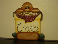 Handcrafted Gingerbread Shelf Sitter  - Ginger's in the cookie jar Designer: Lori Allisen Available on Etsy: By Brenda's Hand (if not currently listed, message me) 12.99