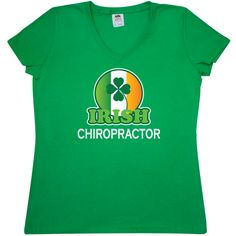 Funny+Irish+Chiropractor+Women's+V-Neck+T-Shirts+for+St+Patricks+Day+parties+or+an+Irish+festival+has+lucky+four+leaf+clover+and+the+colors+of+the+Irish+flag.+$22.99+www.funnyoccupationtshirts.com