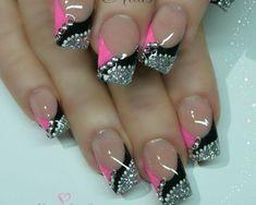 Pink black & silver nail design