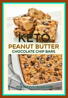 Bursting with peanut butter and chocolate flavor these low carb peanu butter chocolate chip bars will stop all your peanut butter cravings will doing keto in your tracks. This decadent tasting treat… Low Carb Sweets, Low Carb Desserts, Low Carb Recipes, Dessert Recipes, Low Carb Treat, Low Carb Dessert Easy, Soup Recipes, Peanut Recipes, Tuna Recipes