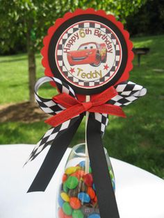 CARS- Lightning McQueen party centerpiece- cupcake topper - birthday party Cake-smash cake -birthday centerpiece - cupcake qt. $4.95, via Etsy.